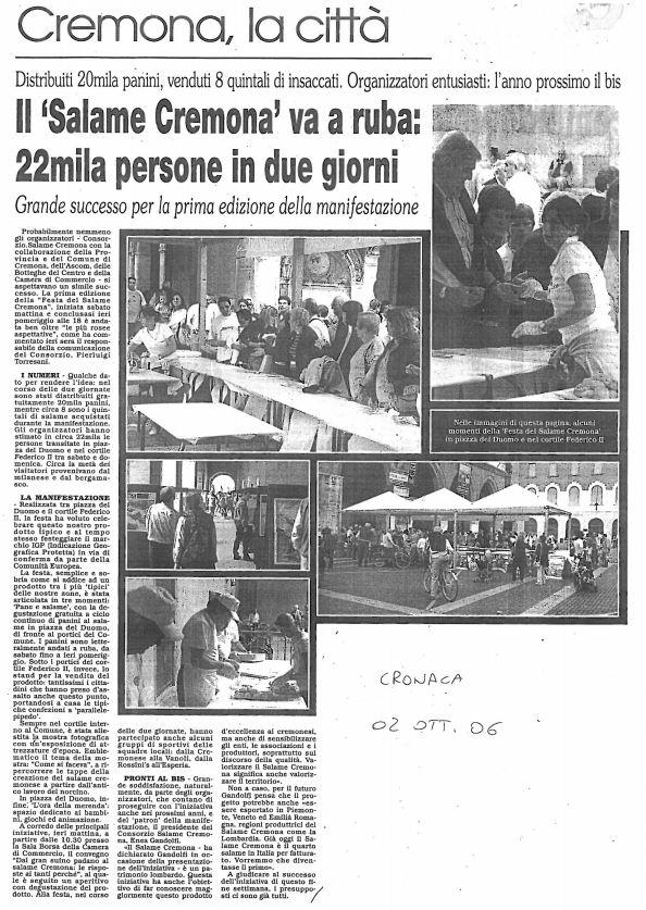 La Cronaca di Cremona 02 ottobre 2006