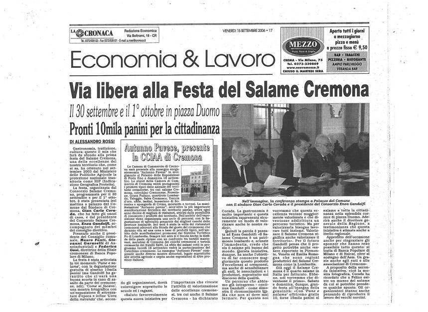 La Cronaca di Cremona - 15 settembre 2006