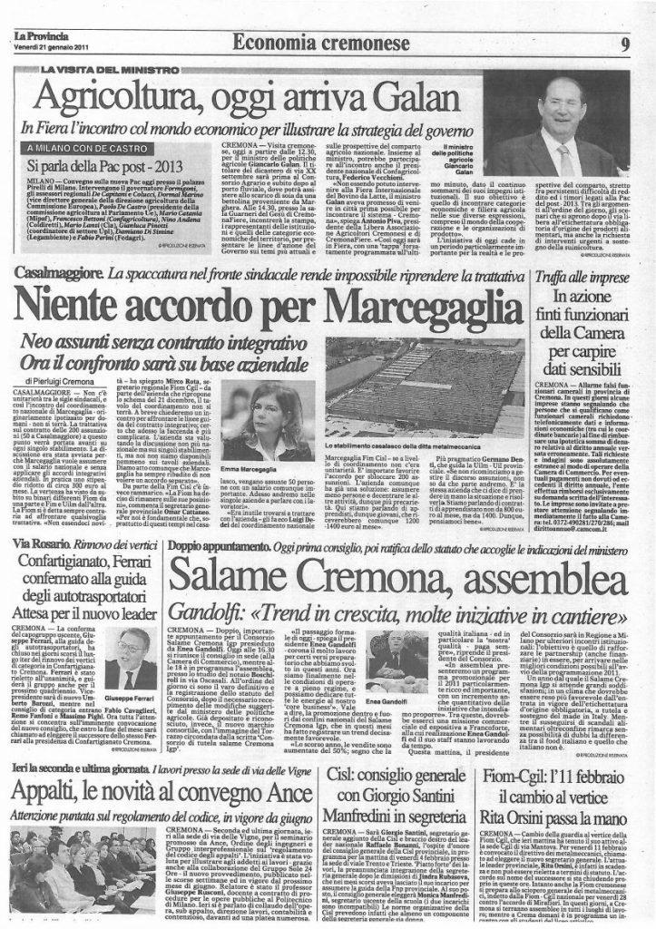 La Provincia di Cremona - 21 gennaio 2011
