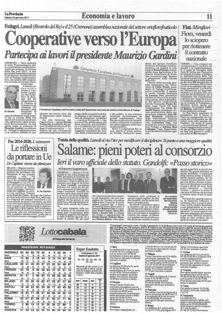 La Provincia di Cremona - 22 gennaio 2011